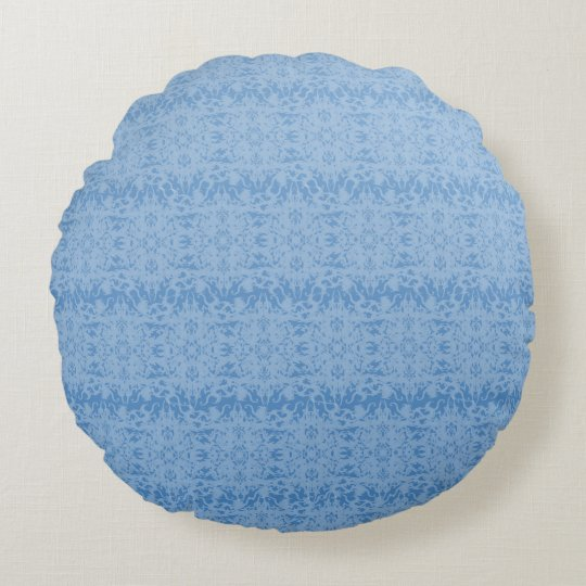 Intricate Fleur De Lis Texture in Blue Round Pillow