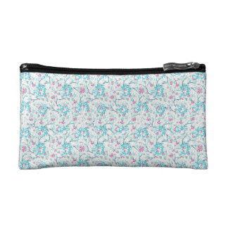 Intricate Floral Collage Cosmetic Bags