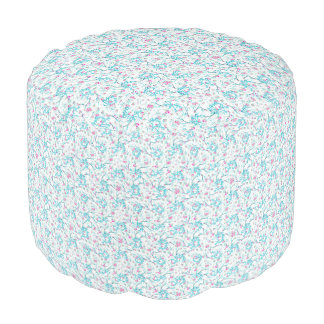 Intricate Floral Collage Pouf