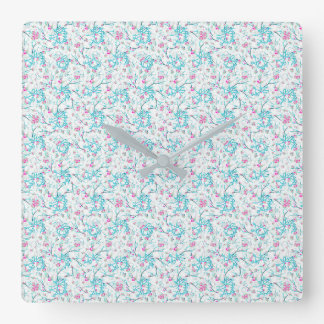 Intricate Floral Collage Square Wall Clock