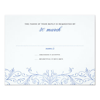 "Intricate Flourish Deux Wedding RSVP 4.25"" X 5.5"" Invitation Card"