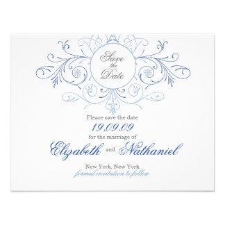 Intricate Flourish Navy Blue Save The Date Invitation