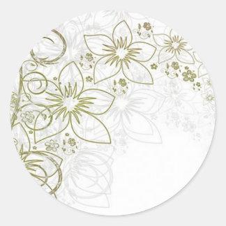 Intricate gold design classic round sticker