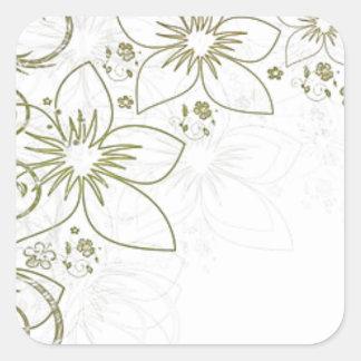 Intricate gold design square sticker