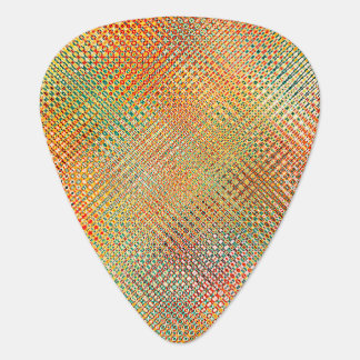 Intricate Gold Yellow Pink Red Green Pattern Guitar Pick