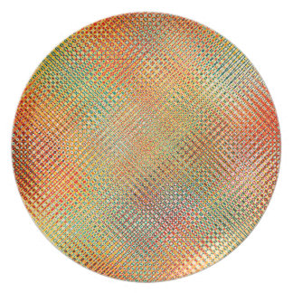Intricate Gold Yellow Pink Red Green Pattern Plate