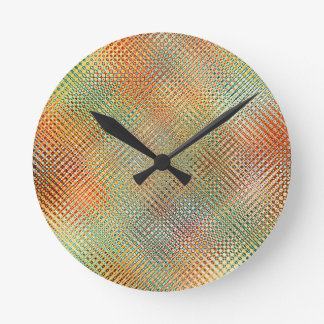 Intricate Gold Yellow Pink Red Green Pattern Round Clock