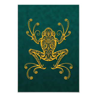 Intricate Golden Blue Tree Frog Invite