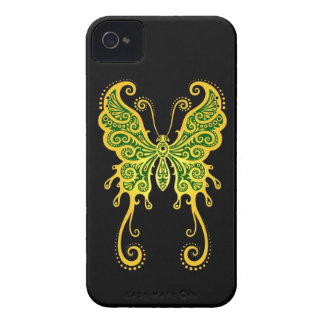 Intricate Golden Green and Black Butterfly iPhone 4 Cases