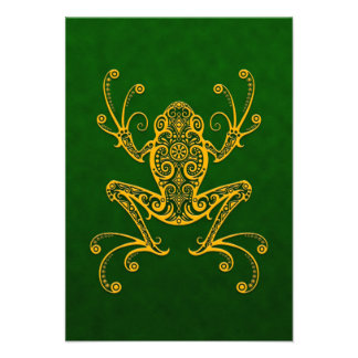 Intricate Golden Green Tree Frog Personalized Invitation