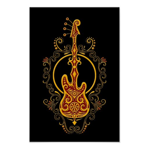 Intricate Golden Red Bass Guitar Design on Black Posters