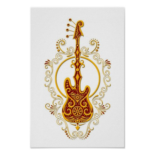 Intricate Golden Red Bass Guitar Design on White Posters