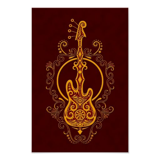 Intricate Golden Red Bass Guitar Design Posters