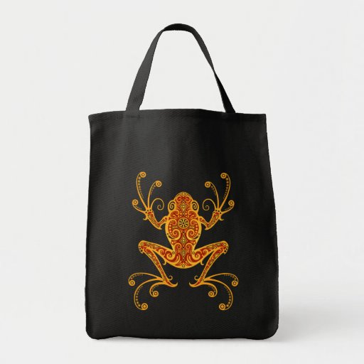 Intricate Golden Red Tree Frog Tote Bags
