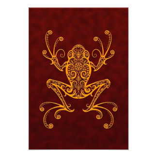 Intricate Golden Red Tree Frog Invites