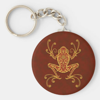 Intricate Golden Red Tree Frog Keychains