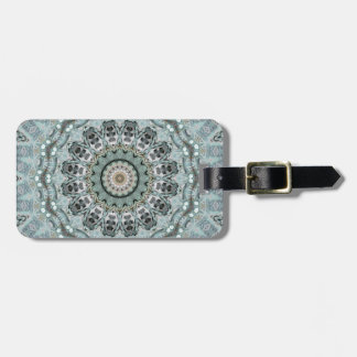 Intricate Gray and Aqua Mandala Kaleidoscope Luggage Tag