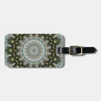 Intricate Gray and Green Mandala Kaleidoscope Luggage Tag