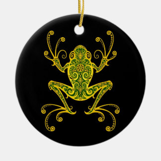 Intricate Green and Black Tree Frog Ceramic Ornament
