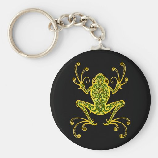 Intricate Green and Black Tree Frog Keychains