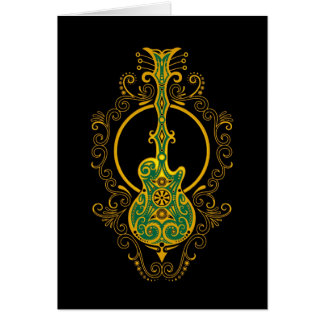 Intricate Green and Yellow Guitar Card