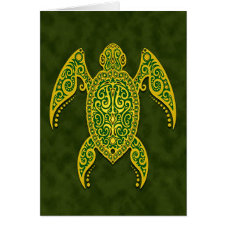 Intricate Green Sea Turtle Card