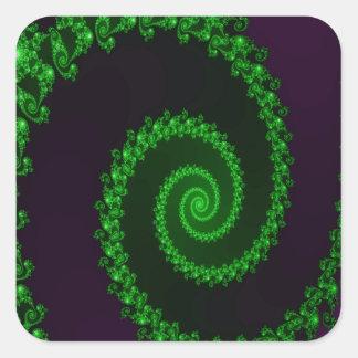 Intricate Green Swirl on Purple Fractal Square Sticker