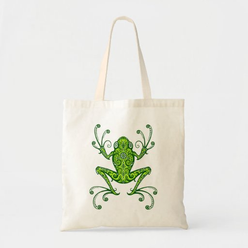 Intricate Green Tree Frog Tote Bag