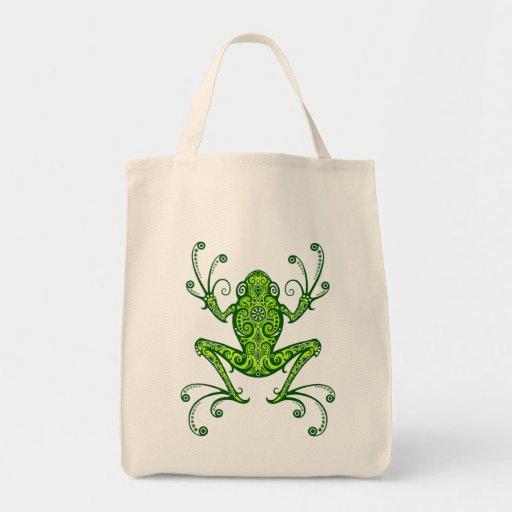 Intricate Green Tree Frog Bag
