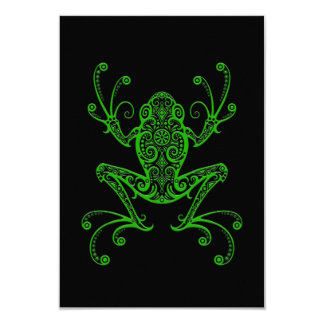 Intricate Green Tree Frog on Black Custom Invitations