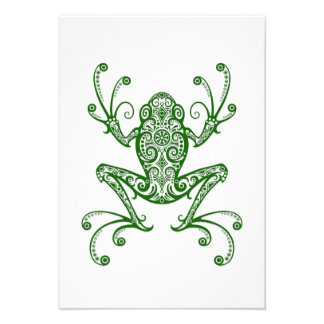 Intricate Green Tree Frog on White Personalized Invitations