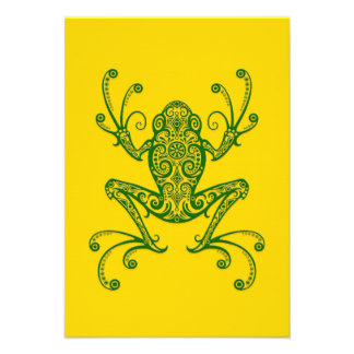 Intricate Green Tree Frog on Yellow Custom Invitations