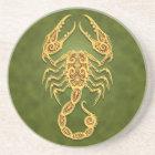Intricate Green Tribal Scorpio Coaster