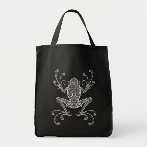 Intricate Grey Tree Frog Tote Bags