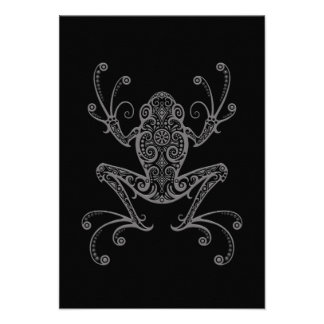 Intricate Grey Tree Frog on Black Invite