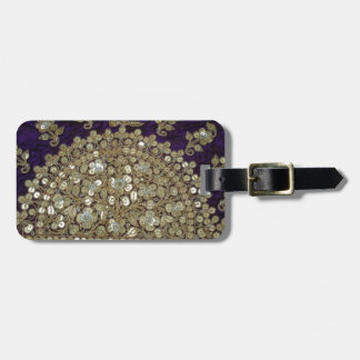 INTRICATE INDIA ZARI WORK ON PURPLE SILK LUGGAGE TAG