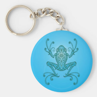 Intricate Light Blue Tree Frog Basic Round Button Keychain