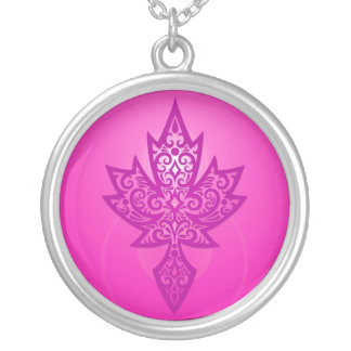 Intricate Maple Leaf - deep pink Silver Plated Necklace