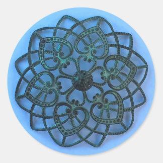 Intricate metalwork filigree pretty lacy design classic round sticker