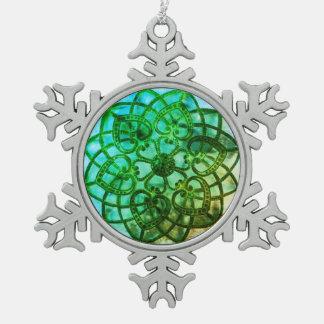 Intricate metalwork green mandala style decoration