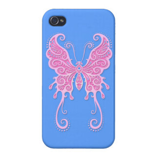 Intricate Pink Butterfly on Blue iPhone 4/4S Cases