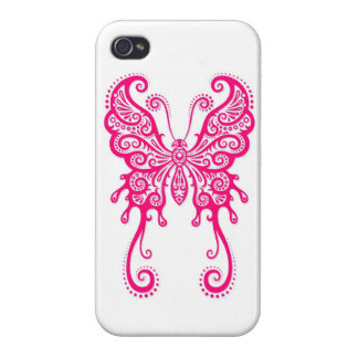 Intricate Pink Butterfly on White iPhone 4/4S Case