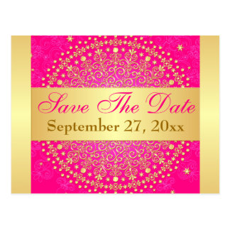 Intricate PInk, Gold Scrolls Save the Date Card