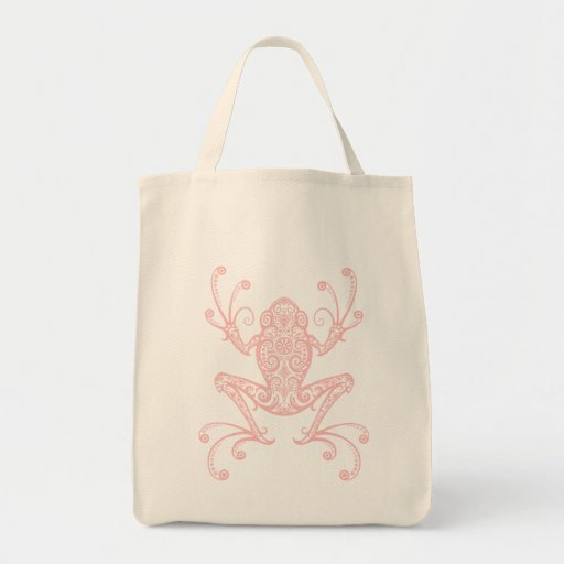 Intricate Pink Tree Frog Tote Bags
