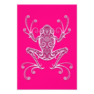 Intricate Pink Tree Frog Custom Announcements