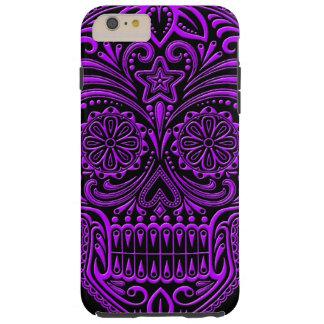 Intricate Purple and Black Sugar Skull Tough iPhone 6 Plus Case
