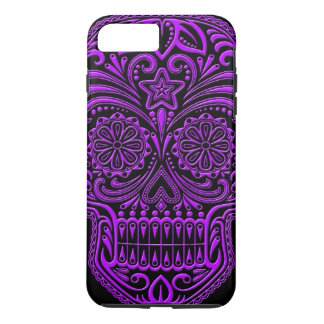 Intricate Purple and Black Sugar Skull iPhone 7 Plus Case