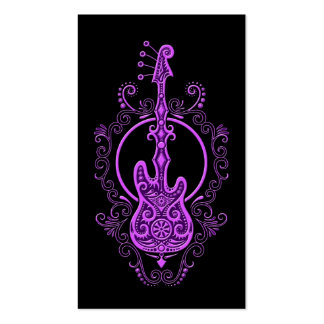 Intricate Purple Bass Guitar Design on Black Business Card
