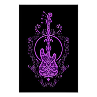 Intricate Purple Bass Guitar Design on Black Poster