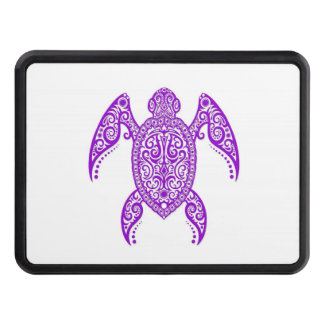 Intricate Purple Sea Turtle on White Trailer Hitch Cover